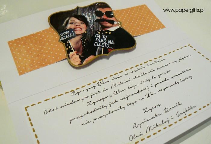 Zółto-granatowa w stylu retro - kartka ślubna dla Beaty i Tomka2