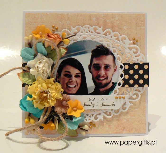 Żółta z kropkami w stylu retro - kartka ślubna dla Sandry i Samuela