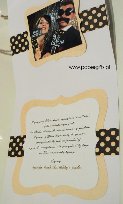 Żółta z kropkami w stylu retro - kartka ślubna dla Sandry i Samuela1