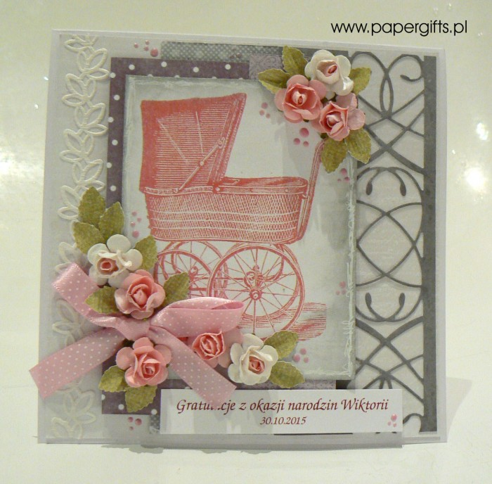 Szara z różowym wózkiem i różyczkami - Gratulacje z okazji narodzin Wiktorii
