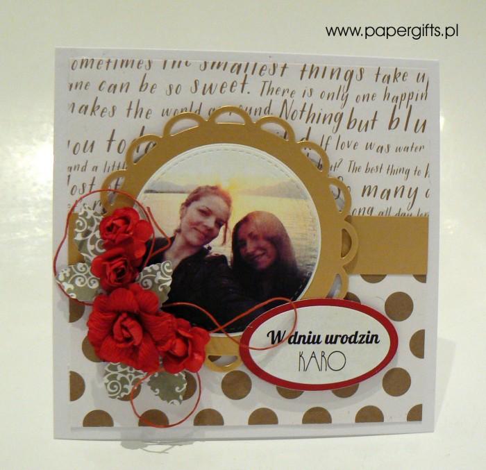 Złoto-czerwona - kartka na urodziny Karo