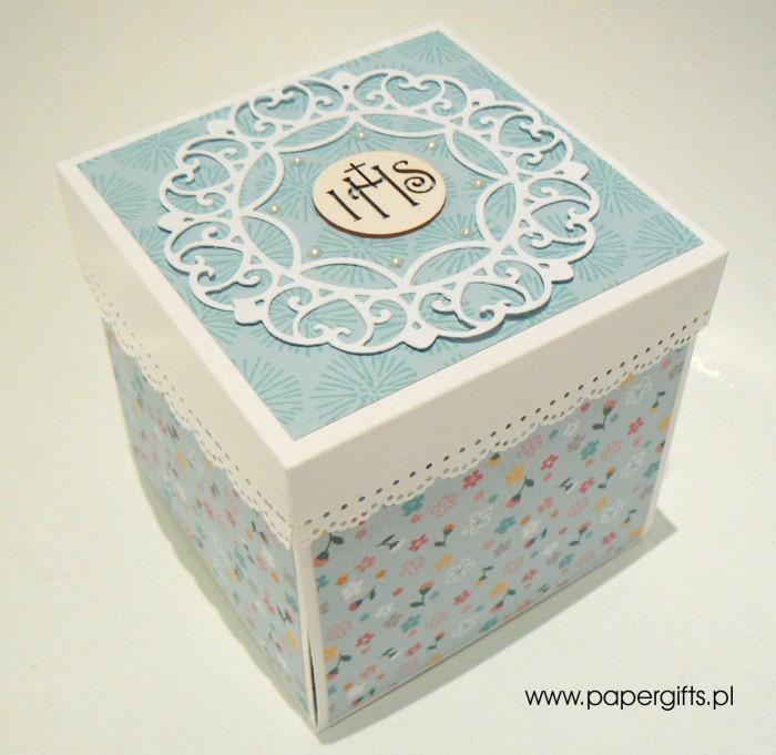 Błękitny box na Komunię Świętą Jakuba