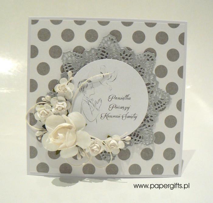 Biało-srebrna w kropki dla chłopca - Kartka na Komunię Świętą