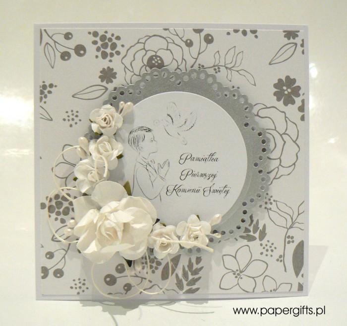 Biało-srebrna w kwiatki dla chłopca - Kartka na Komunię Świętą
