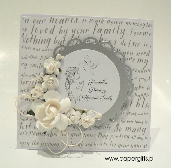 Biało-srebrna z napisami dla dziewczynki - Kartka na Komunię Świętą