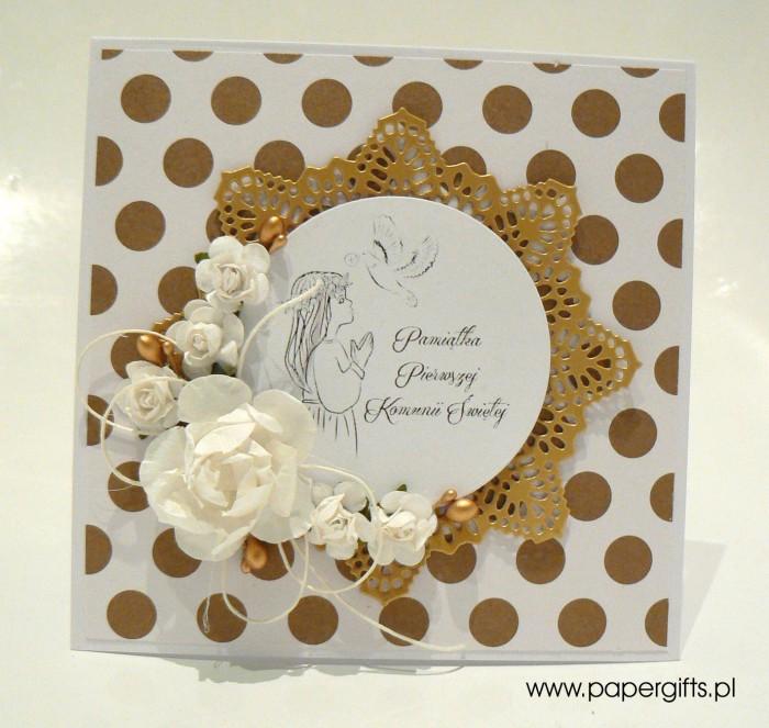 Biało-złota w kropki dla dziewczynki - Kartka na Komunię Świętą