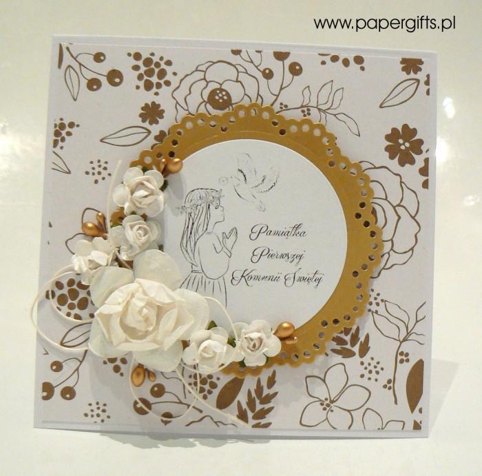 Biało-złota w kwiatki dla dziewczynki - Kartka na Komunię Świętą