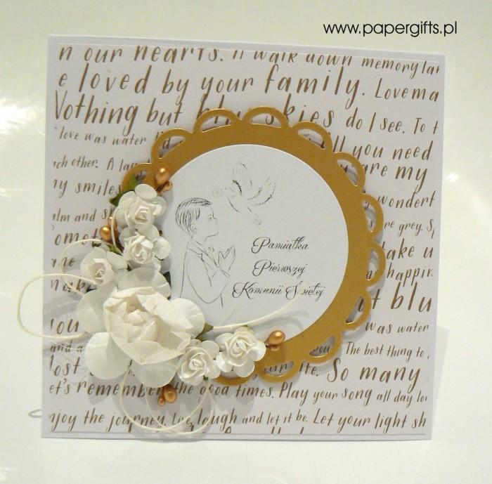 Biało-złota z napisami dla chłopca - Kartka na Komunię Świętą
