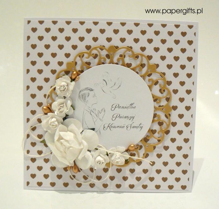 Biało-złota z sercami dla chłopca - Kartka na Komunię Świętą