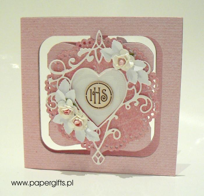 Różowa z sercem i różami - Pamiątka Komunii Św. Sylwii - Kopia