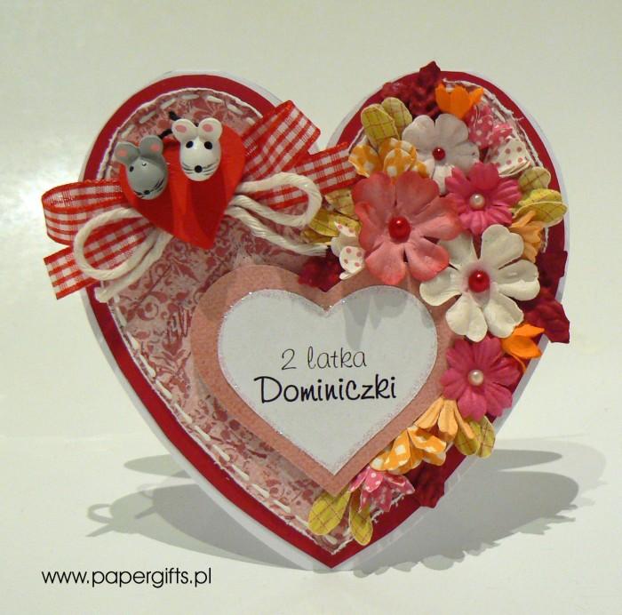 Różowe serce z myszkami na urodziny Dominiczki2