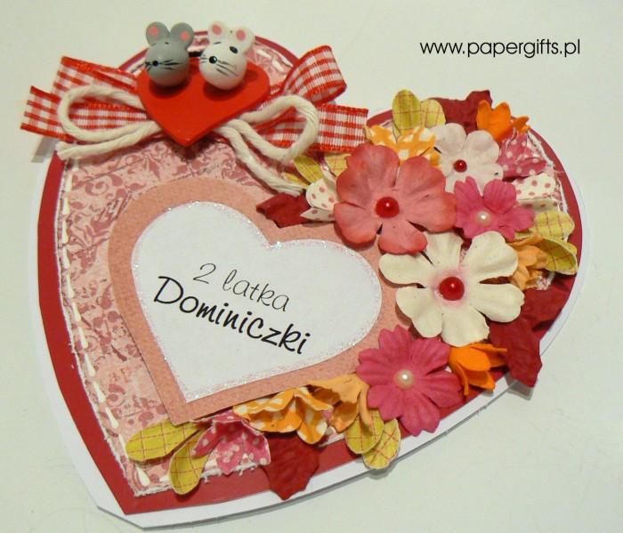 Różowe serce z myszkami na urodziny Dominiczki3