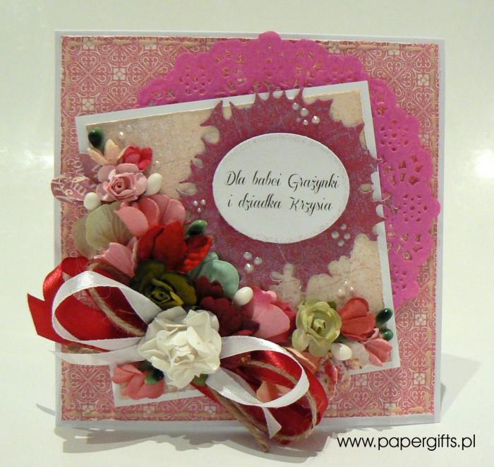 Różowo-biały bukiet - dla babci Grażynki i dziadka Krzysia