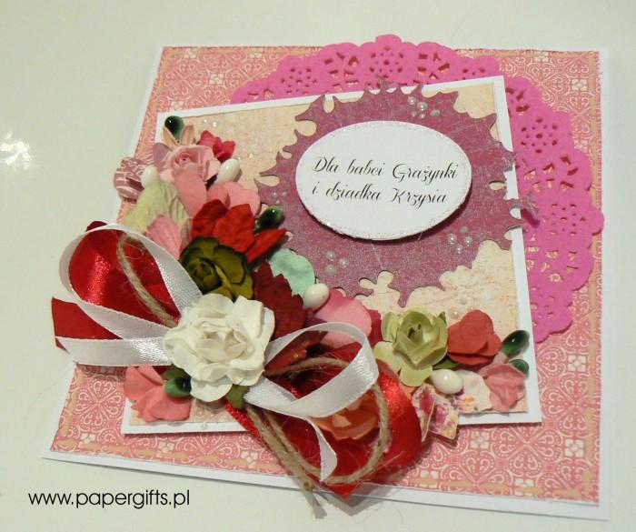 Różowo-biały bukiet - dla babci Grażynki i dziadka Krzysia1