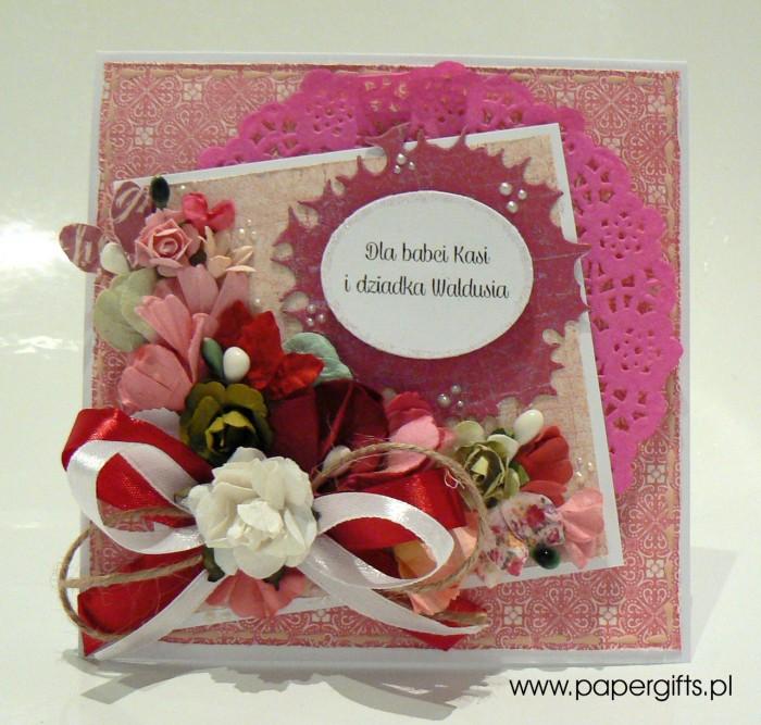 Różowo-biały bukiet - dla babci Kasi i dziadka Waldusia
