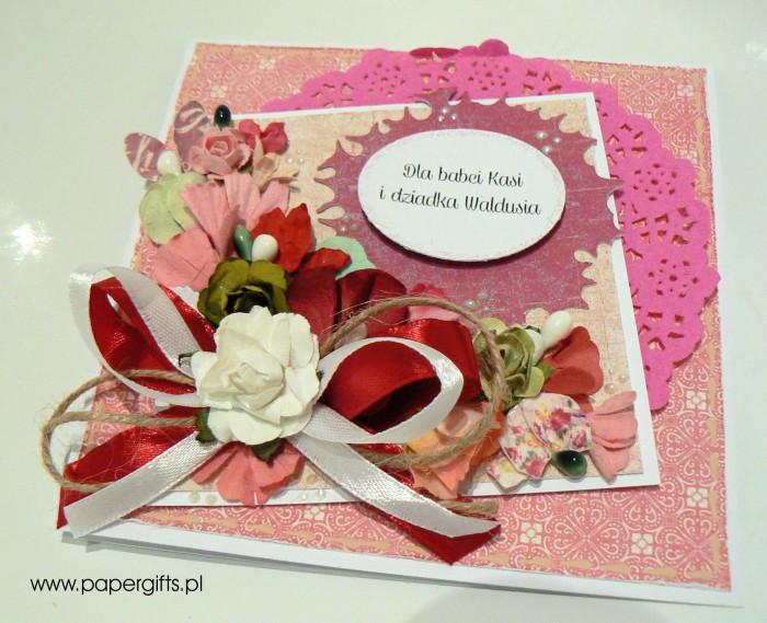 Różowo-biały bukiet - dla babci Kasi i dziadka Waldusia1