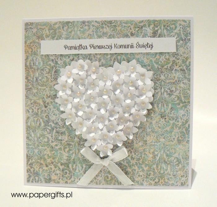 Turkusowo-zielona z sercem z drobnych kwiatków – Kartka na Komunię Świętą
