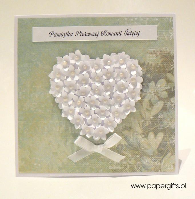 Zielono-turkusowa z sercem z drobnych kwiatków – Kartka na Komunię Świętą