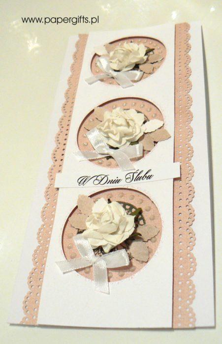 Beżowo-biała kółka z różami - kartka ślubna1