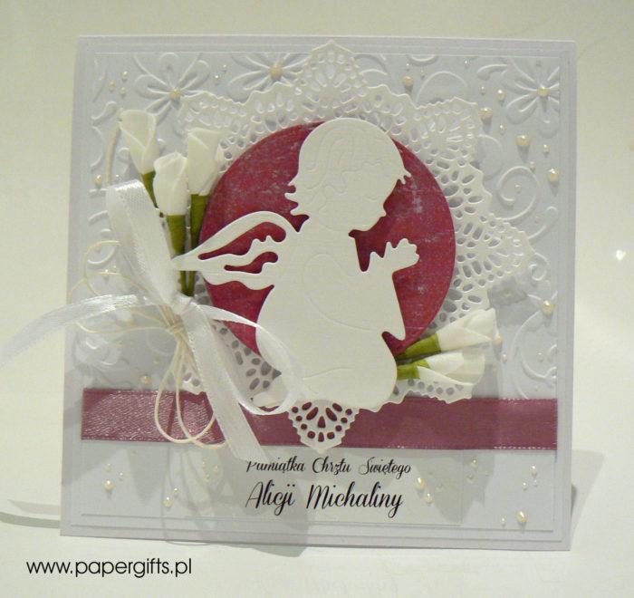 Biała z różem i aniołkiem - kartka na chrzest