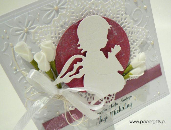 Biała z różem i aniołkiem - kartka na chrzest1