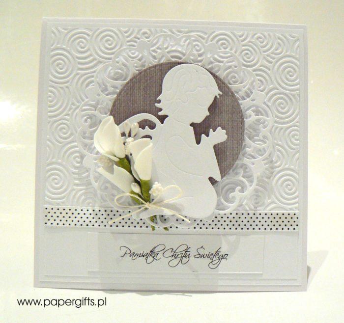 Biało-ciemnoszara z aniołkiem - kartka na chrzest