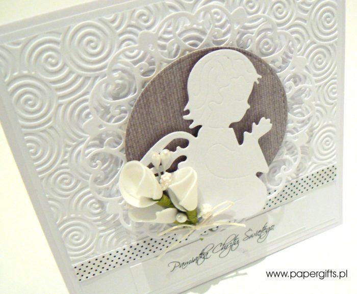 Biało-ciemnoszara z aniołkiem - kartka na chrzest1
