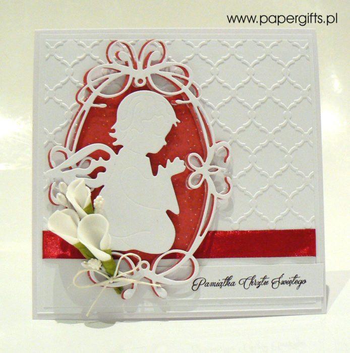Biało-czerwona z aniołkiem - kartka na chrzest