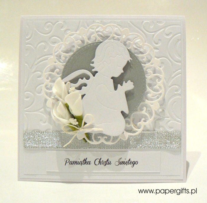 Biało-jasnoszara z aniołkiem - kartka na chrzest