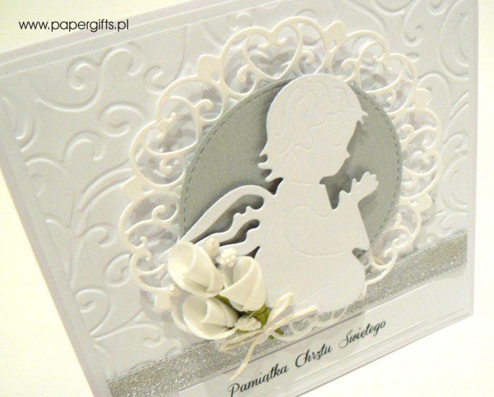 Biało-jasnoszara z aniołkiem - kartka na chrzest1