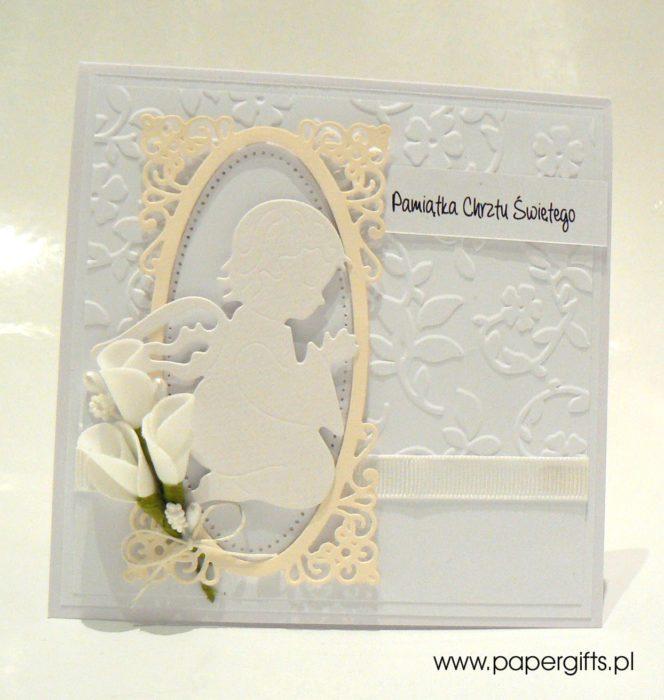 Biało-kremowa z aniołkiem - kartka na chrzest