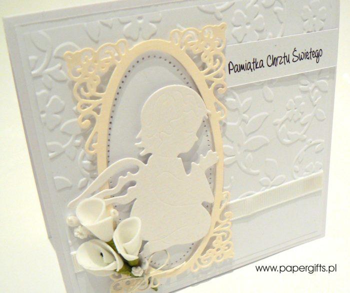Biało-kremowa z aniołkiem - kartka na chrzest1
