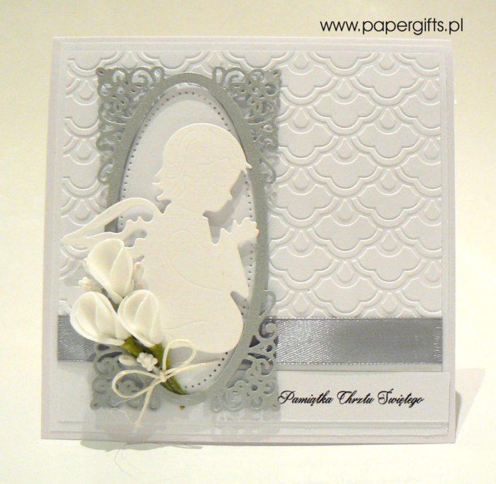 Biało-srebrna z aniołkiem - kartka na chrzest