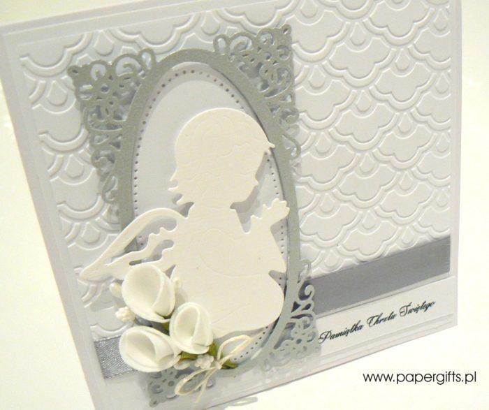 Biało-srebrna z aniołkiem - kartka na chrzest1
