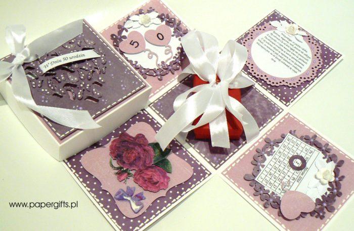 Fioletowy z motylkami box na 50 urodziny1