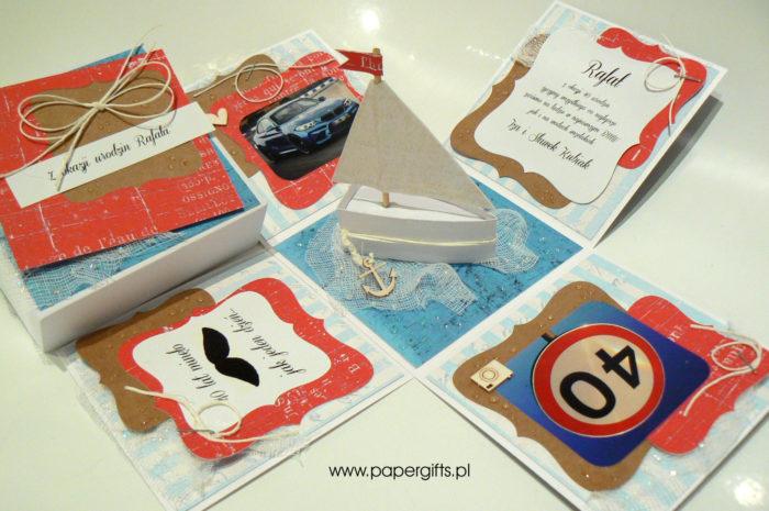 Granatowo-błękitno-czerwony absolutnie morski box na 40 urodziny1
