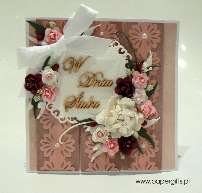 Koronkowe paseczki - kartka na ślub