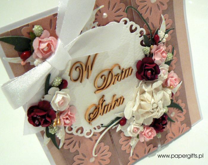 Koronkowe paseczki - kartka na ślub1