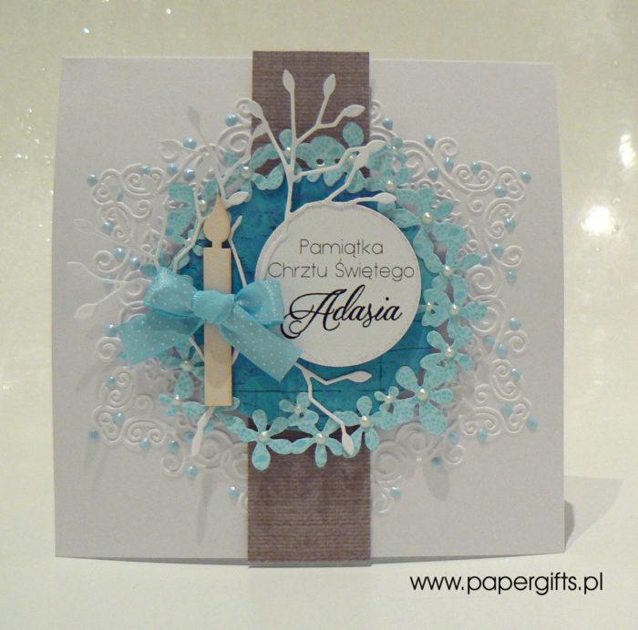 Niebieski wianek - kartka na chrzest Adasia