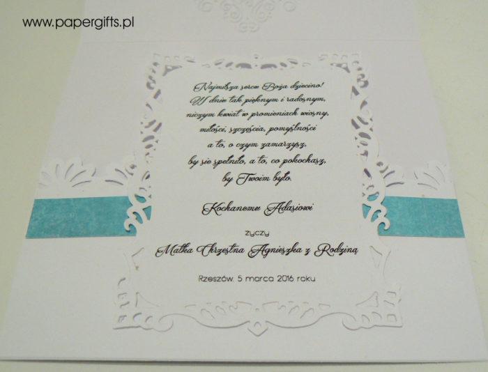 Niebieski wianek - kartka na chrzest Adasia2