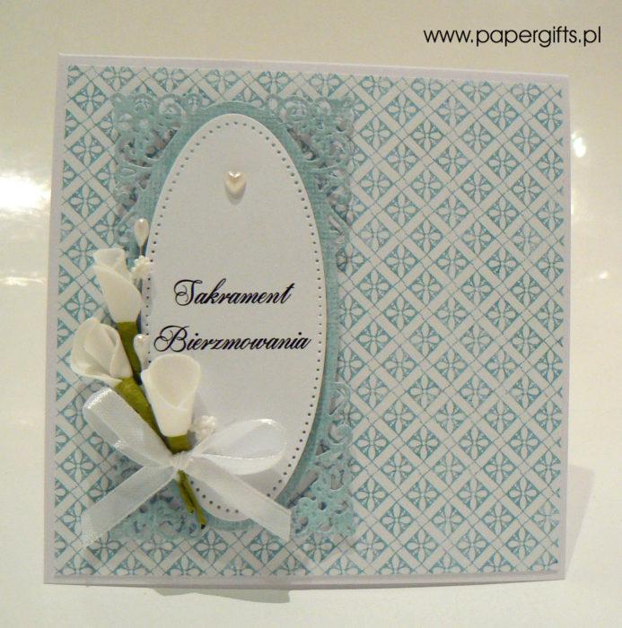 Niebieskie damaski z owalną koronką - kartka na bierzmowanie
