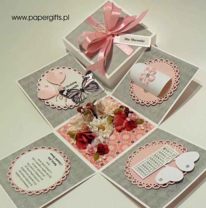Szaro-różowy z motylem box na 18 urodziny1
